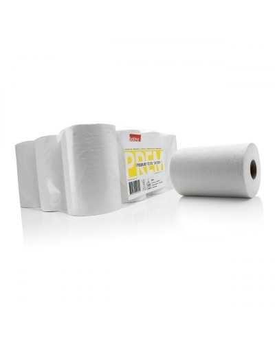Mini bobines d'essuyage, blanc.Ballot de 12