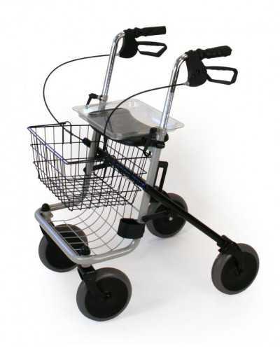 Rollator 4 roues avec siège, pliable, gris