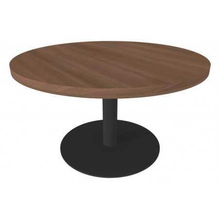 Table de salon ronde avec pied central, Æ 80 cm x 45 cm, noyer.