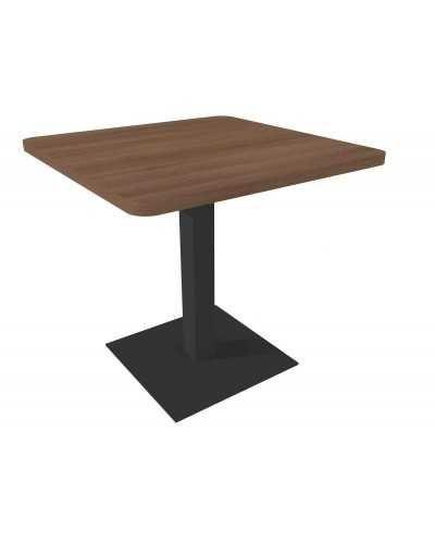 Table carrée avec pied central, avec coins arrondis, noyer.