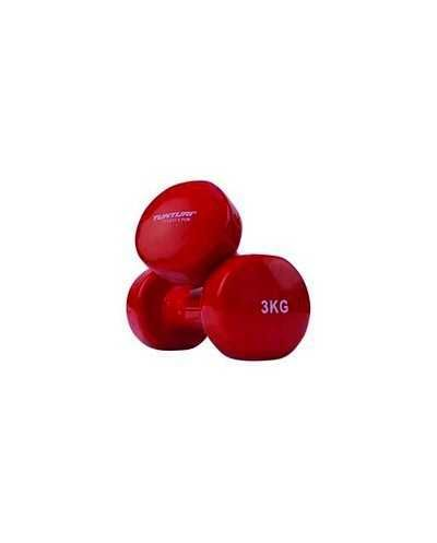 Paire d'altères Tunturi, vinyle, 3 kg, rouge