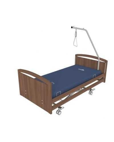 Lit électrique CONFORT 2 avec freinage centralisé, Noyer Panneaux de finition bois sur les côtés du lit.