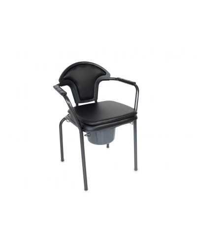 Chaise hygiénique fixe, avec assise pleine, vinyle noir.
