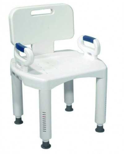 Chaise de douche Makemo avec accoudoirs et dossier, réglable en hauteur.