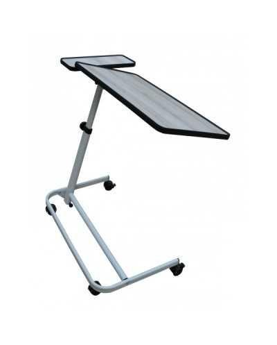 Table à manger au fauteuil avec tablette latérale fixe. Coloris : Cérusé.En tubes arrondis noirs.