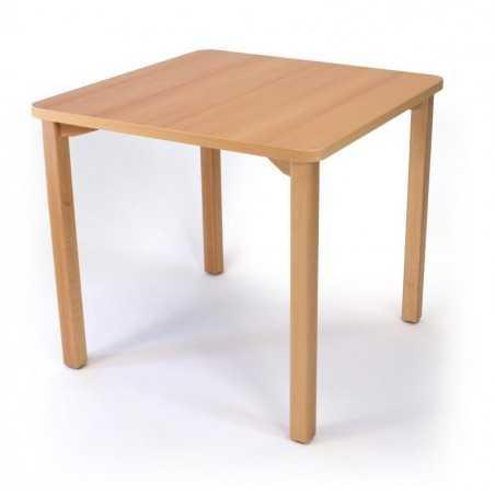 Table, avec coins arrondis, 80 x 80 x 75,5 cm (hauteur), hêtre.