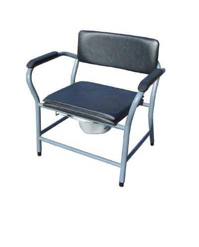 """Chaise hygiénique fixe """"personne forte"""", assise pleine, vinyle noir"""