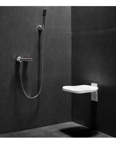 Siège de douche fixe, blanc
