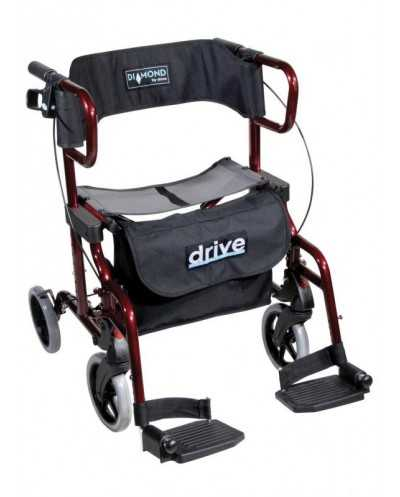 Rollator/chaise roulante, pliable, rouge, Diamond Deluxe.