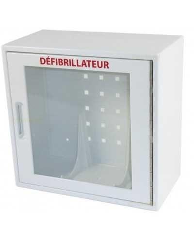 Armoire murale avec alarme pour défibrillateur.