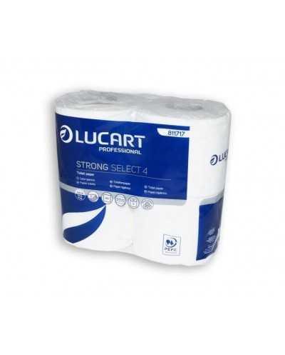 Papier hygiénique, 140 coupons, 4 plis, blanc, décoré et parfumé.Ballot de 14 paquets de 4 rouleaux