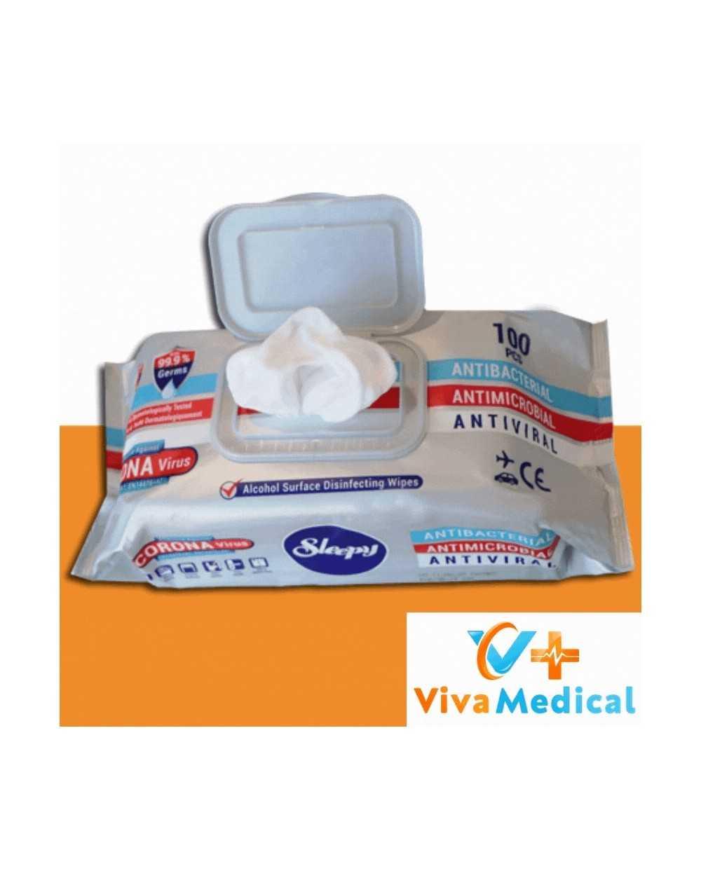Lingettes nettoyantes désinfectantes EN 14476 - Sachet de 100