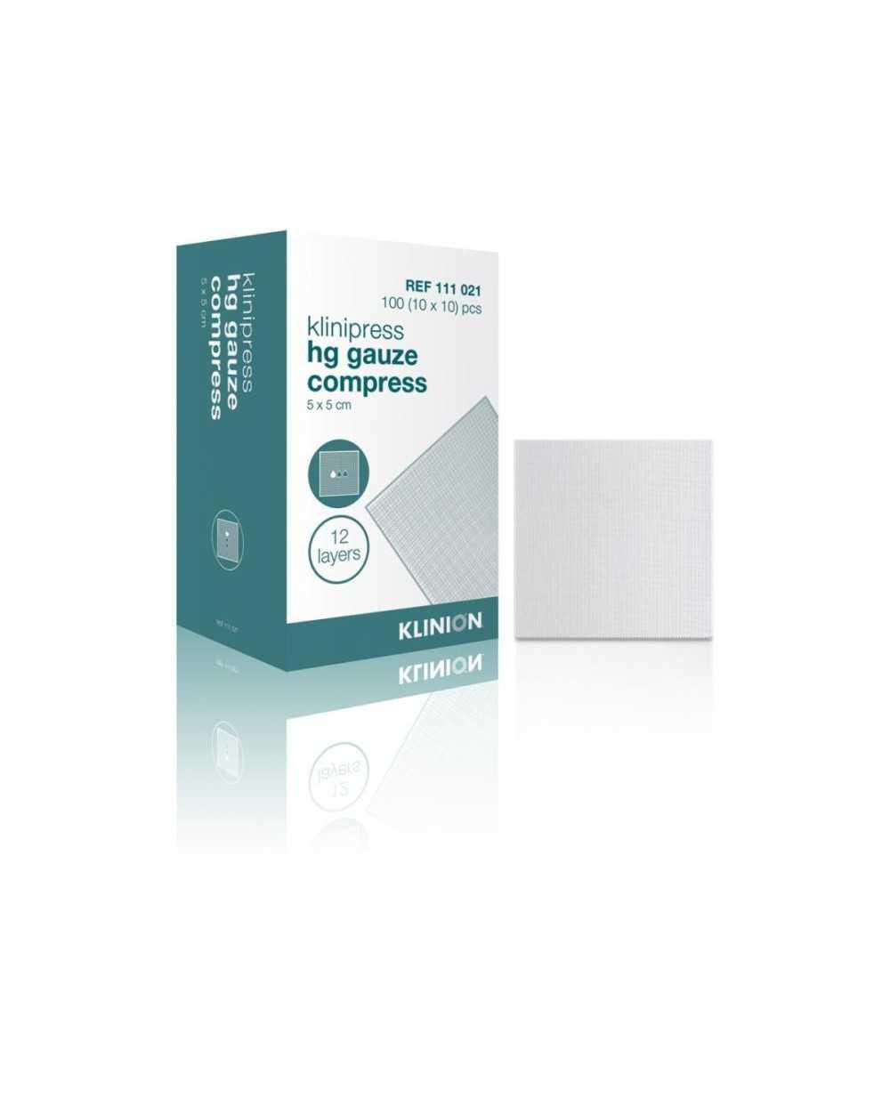 Compresses de gaze Klinion, 7,5 x 7,5 cm Etui de 50 x 5 compresses