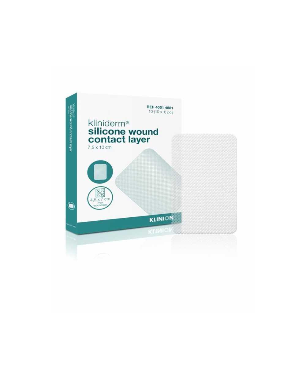Kliniderm Silicone Wound Contact Layer, 7,5 x 10 cm, stérile. Boîte de 10