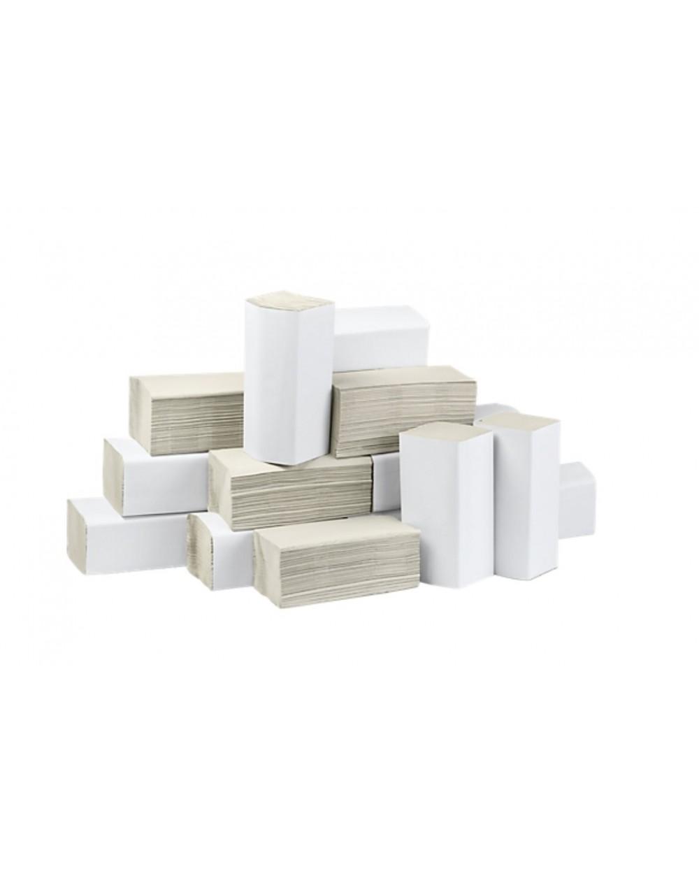 """Essuie-mains, pliage en """"Z-Z"""", 25 x 23 cm, blanc.Carton de 3200"""