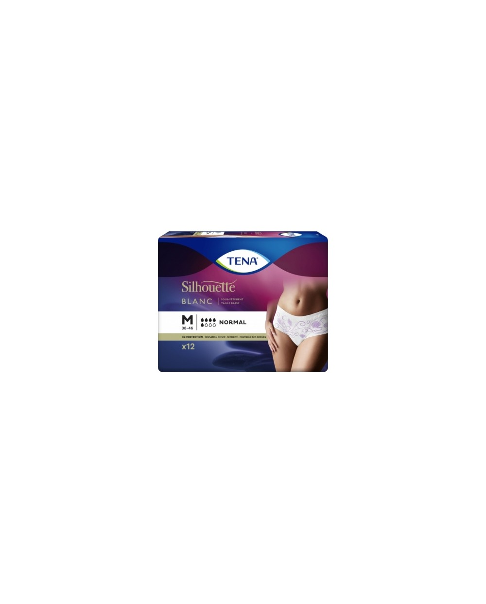 Tena Silhouette Normal Blanc Taille basse Medium - 12 protections