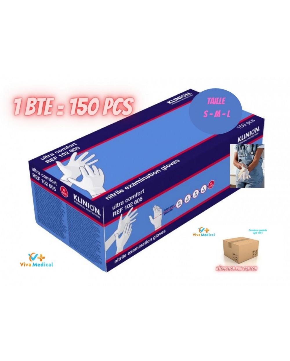 Klinion Gants Protection Nitrile Blanc - 150 pièces